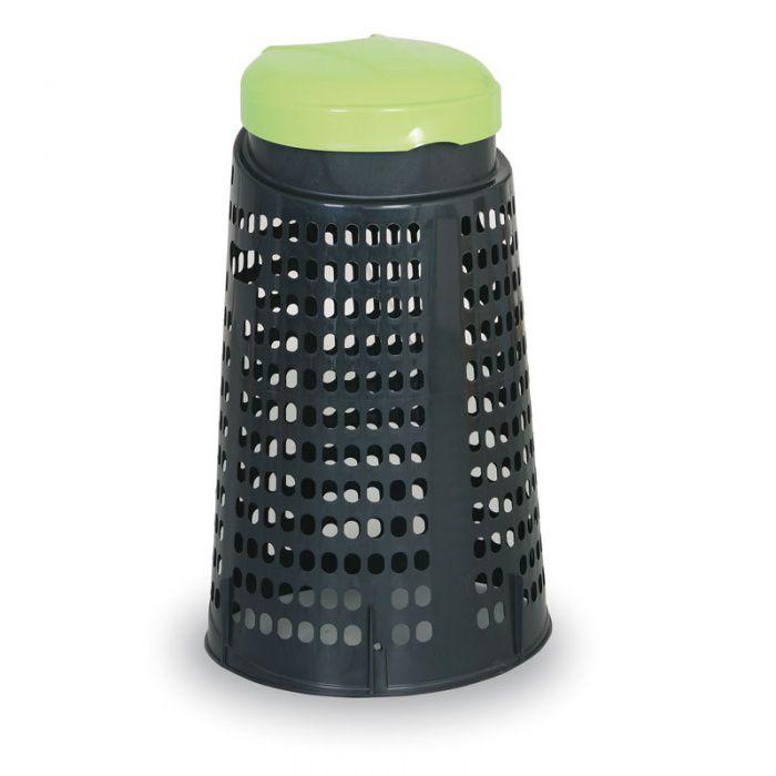 Plastový odpadkový koš na 120 l pytle, černý, zelené víko