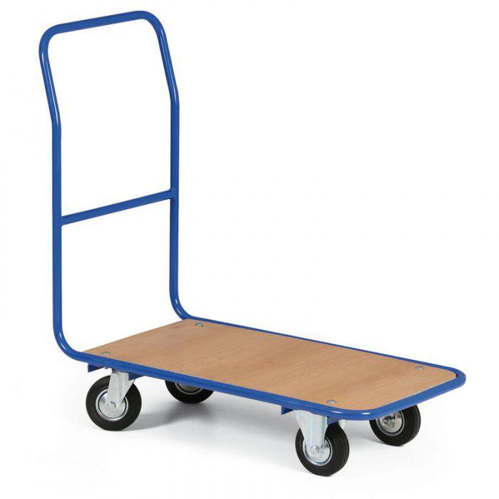 Plošinový vozík - 780x450 mm - Kola šedý pryžový běhoun