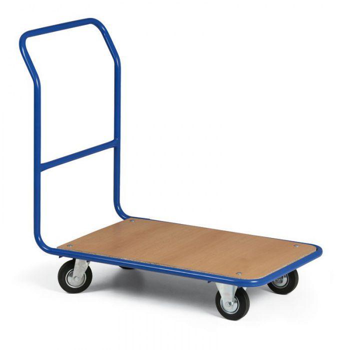 Plošinový vozík - 830x530 mm - Kola šedý pryžový běhoun