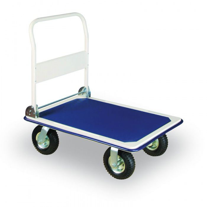 Skládací plošinový vozík s dušovými koly - nosnost 350 kg