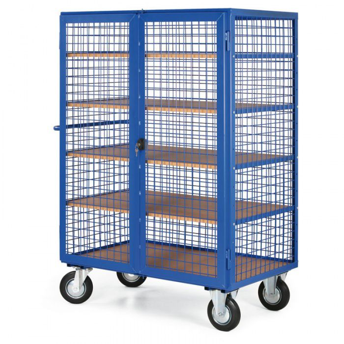 Skříňový vozík - 4 drátěné stěny - 5 polic - nosnost 600 kg
