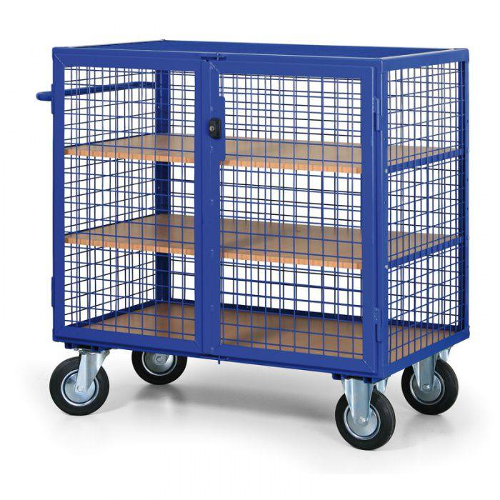 Skříňový vozík uzamykatelný - 3 police - nosnost 600 kg