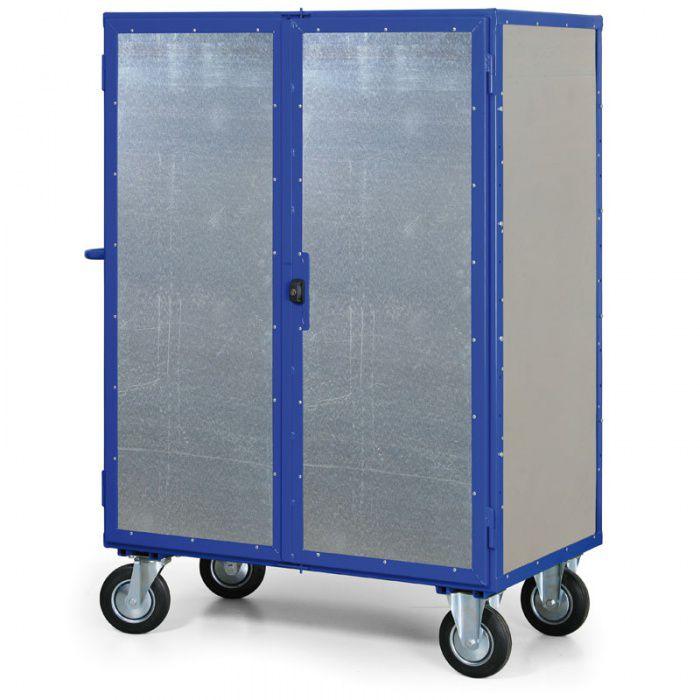 Skříňový vysoký vozík uzamykatelný - 4 plné stěny - nosnost 600 kg
