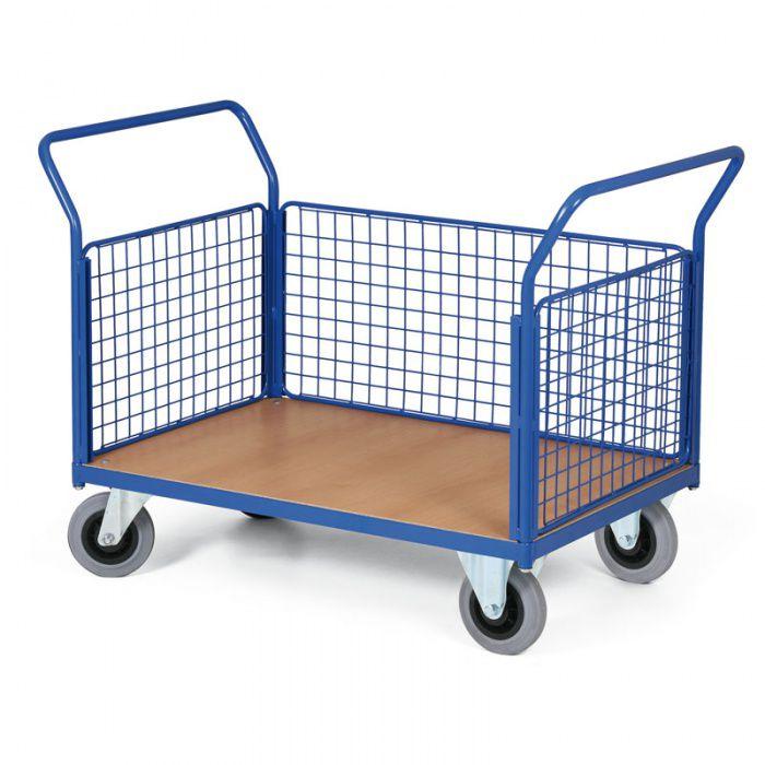 Stavebnicový plošinový vozík - 3 drátěné stěny 1000x700 mm - nosnost 300 kg