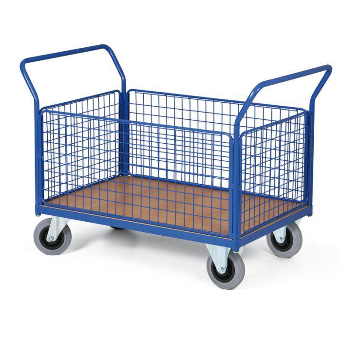 Stavebnicový plošinový vozík - 4 drátěné stěny 1000x700 mm - nosnost 300 kg