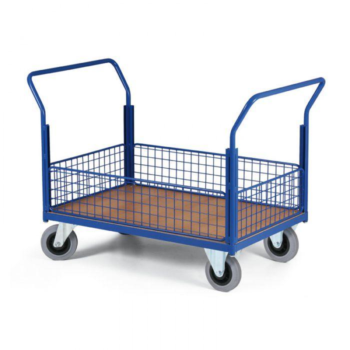 Stavebnicový plošinový vozík - 4 nízké drátěné stěny 1200x800 mm - nosnost 500 kg