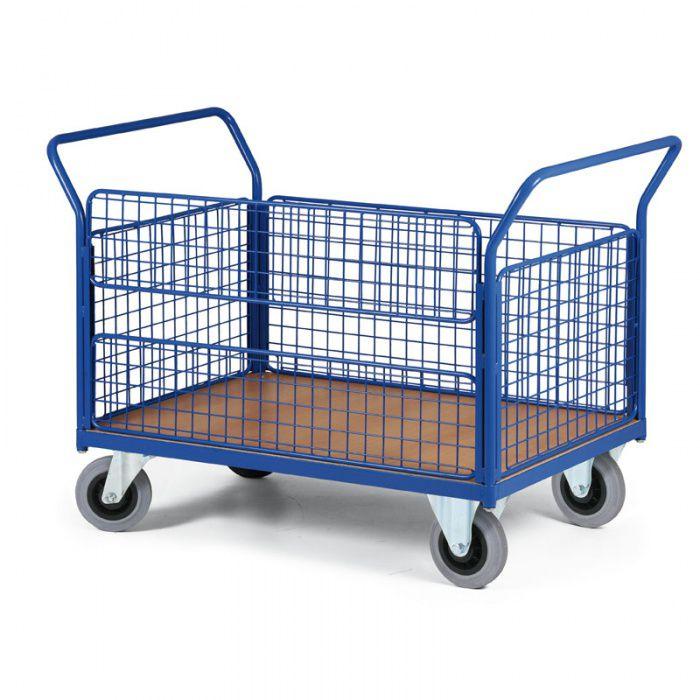 Stavebnicový plošinový vozík - 4 drátěné stěny, 1 delší stěna dělená - nosnost 500 kg