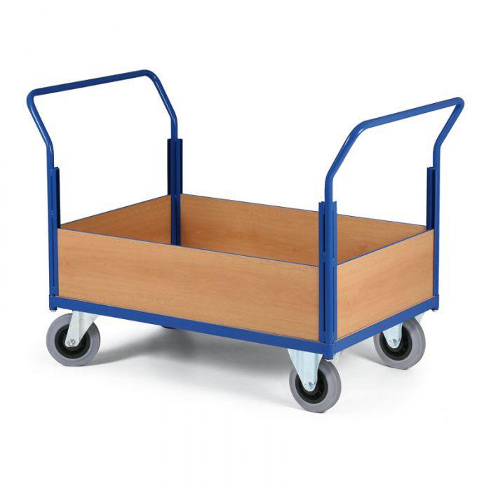 Stavebnicový plošinový vozík - 2 madla, 4x snížená výplň - nosnost 400 kg