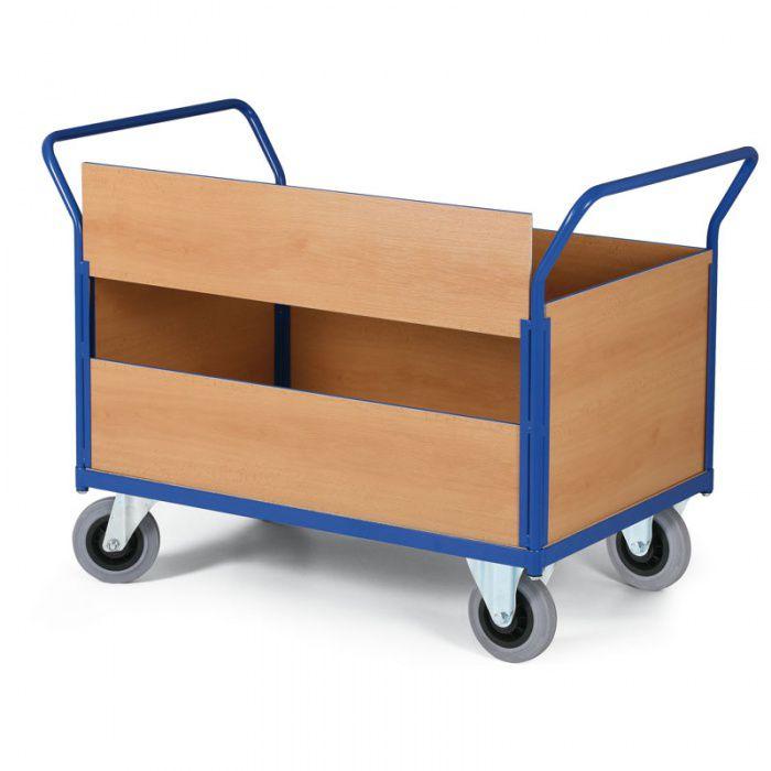 Stavebnicový plošinový vozík - 4 plné stěny, 1 delší stěna dělená - nosnost 500 kg
