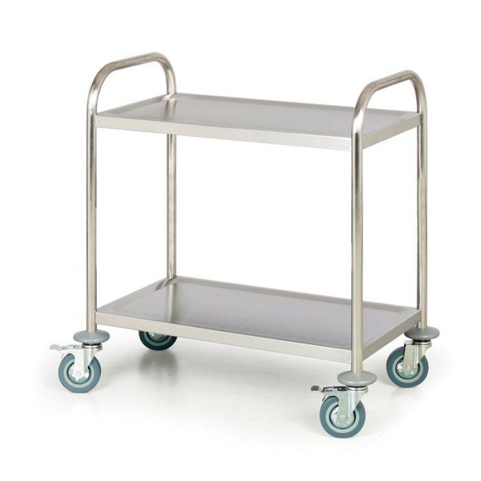 Nerezový policový vozík, 2 police 710x410 mm - nosnost 100 kg
