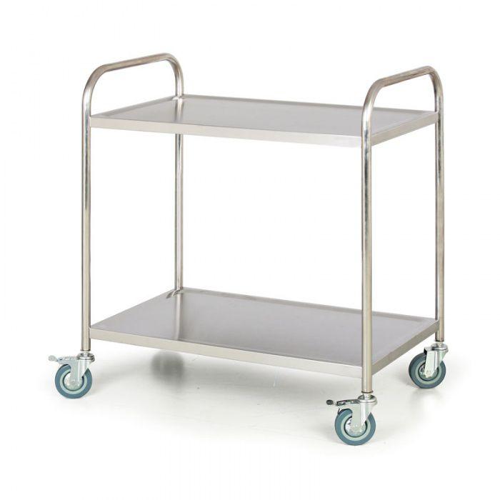 Nerezový policový vozík, 2 police 860x540 mm - nosnost 100 kg