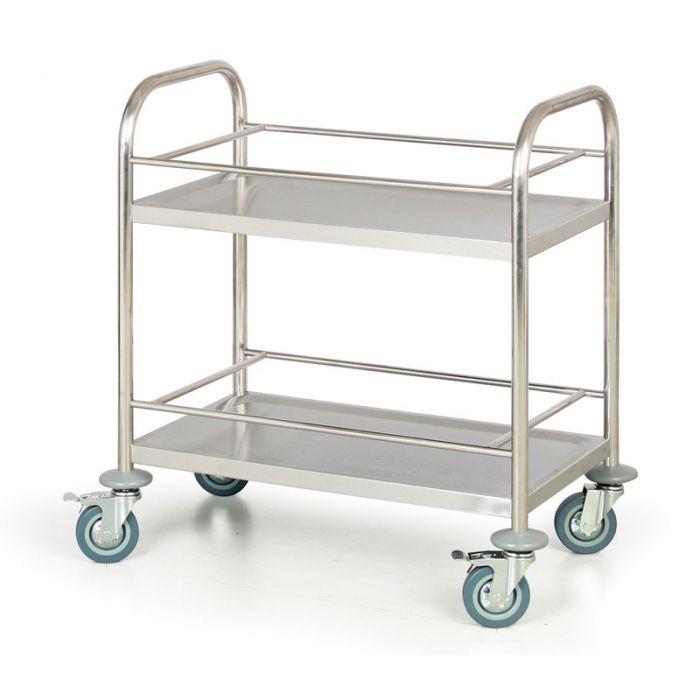 Nerezový policový vozík, 2 police s ohrádkami 710x410 mm