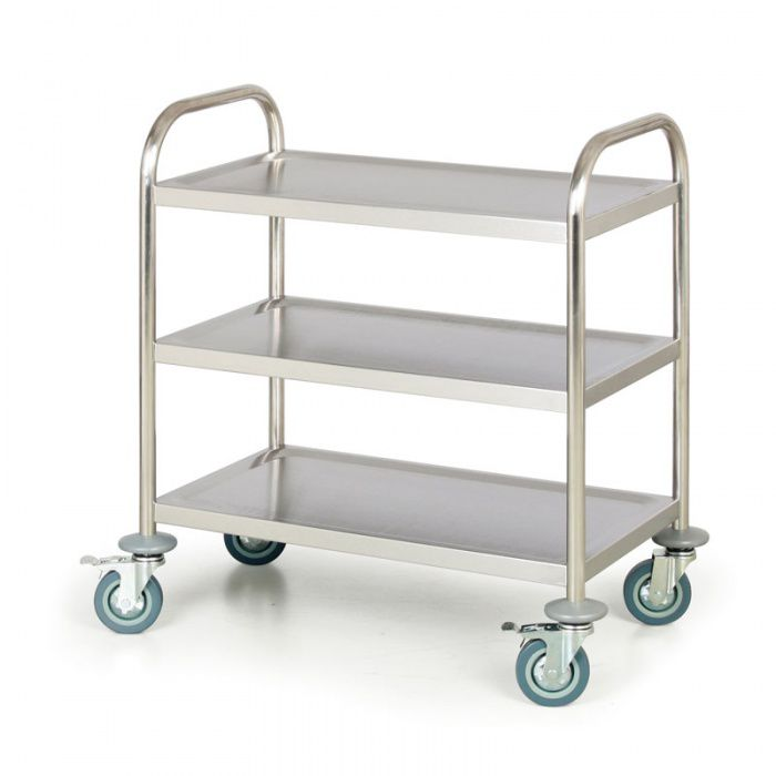 Nerezový policový vozík, 3 police 710x410 mm - nosnost 100 kg