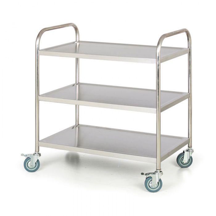 Nerezový policový vozík, 3 police 860x540 mm - nosnost 100 kg