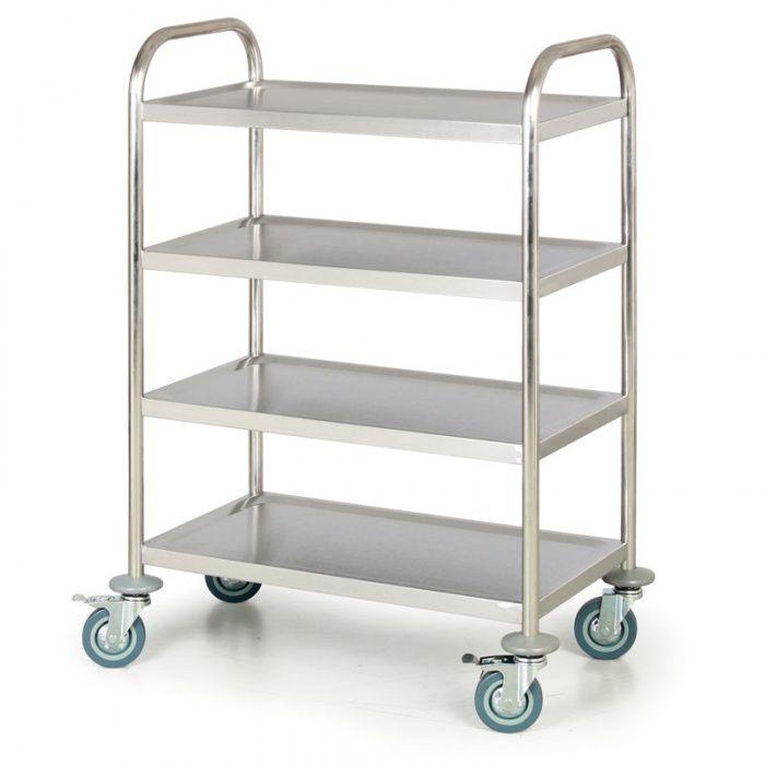 Nerezový policový vozík, 4 police 710x410 mm - nosnost 100 kg