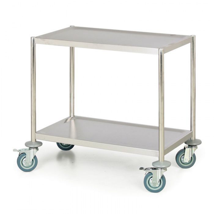 Nerezový policový vozík bez rukojeti, 2 police 690x390 mm