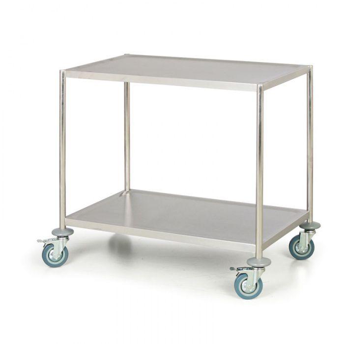 Nerezový policový vozík bez rukojeti, 2 police 830x510 mm
