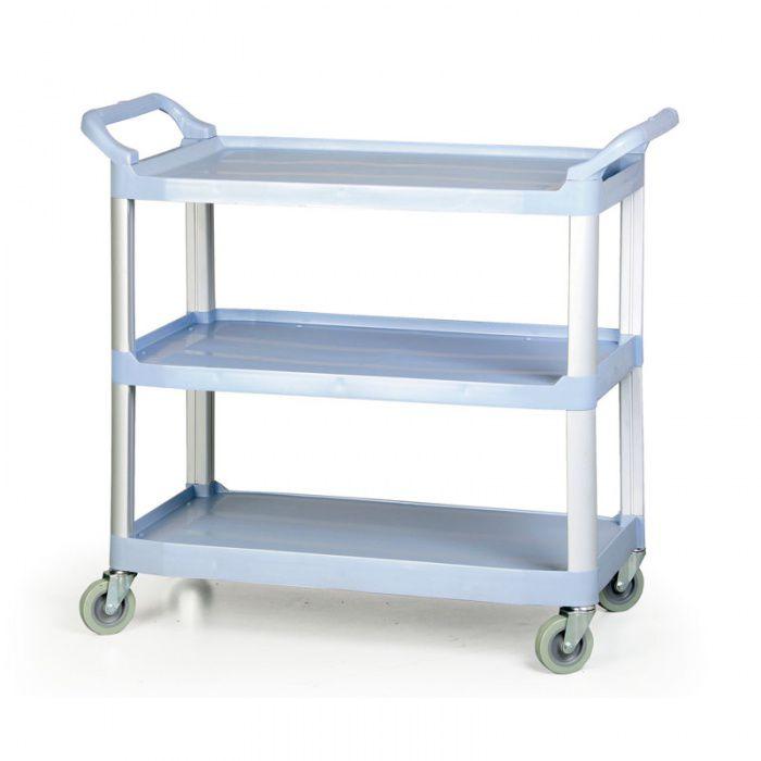 Plastový policový úklidový vozík - 3 police - nosnost 100 kg
