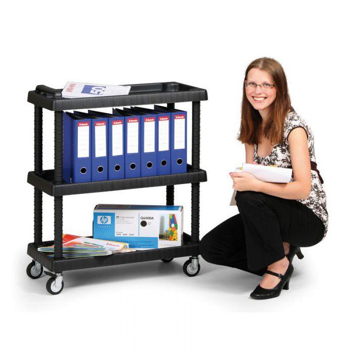 Plastový policový vozík - 3 police - nosnost 100 kg