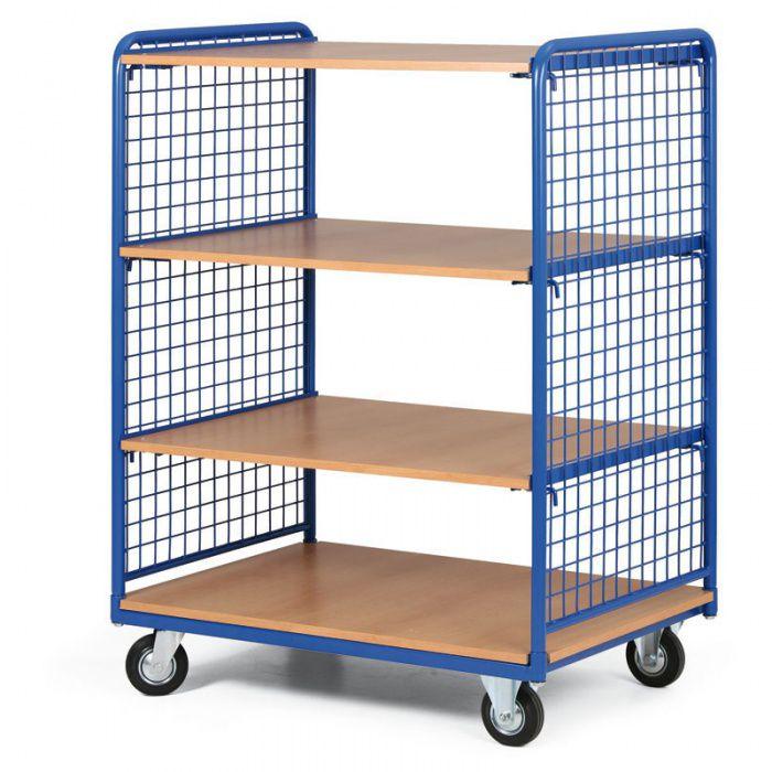 Přepravní policový vozík - 4 hladké police, nosnost 200 kg