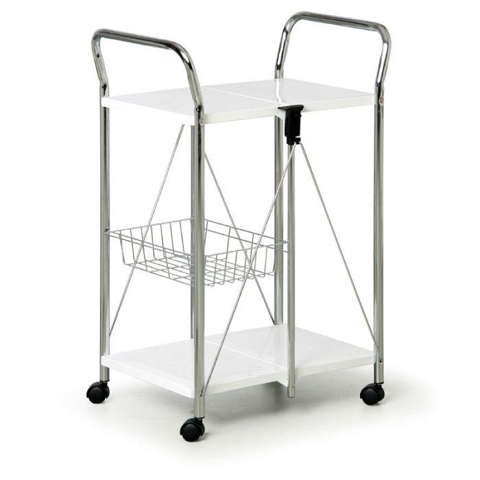 Chromový skládací víceúčelový vozík s bíle lakovanými policemi