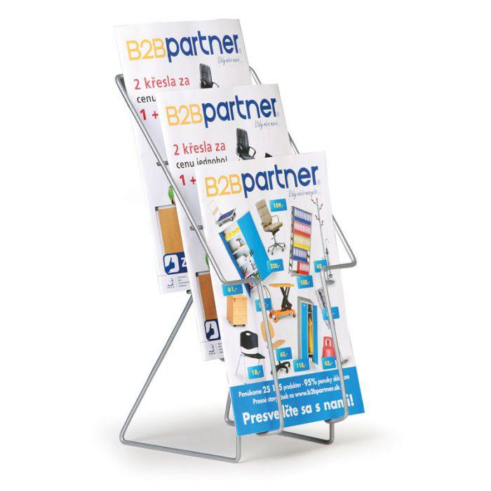 Drátěný stolní stojan na prospekty, 3x kapsa A4