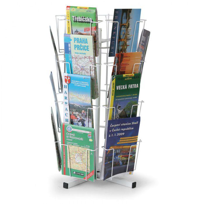 Otočný drátěný stolní stojan na pohlednice, mapy, 24 kapes