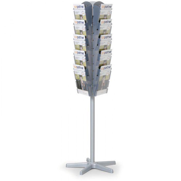 Otočný stojan s plastovými zásobníky na prospekty, 15x A4