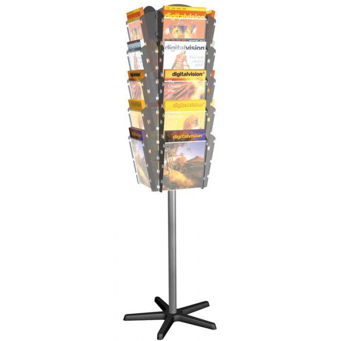 Otočný stojan s plastovými zásobníky na prospekty, 20x A4