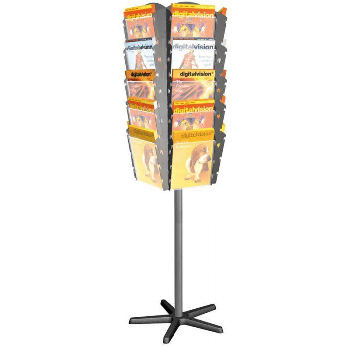 Otočný stojan s plastovými zásobníky na prospekty, 25x A4
