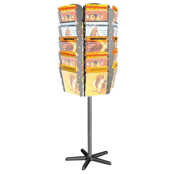 Otočný stojan s plastovými zásobníky na prospekty, 30x A4