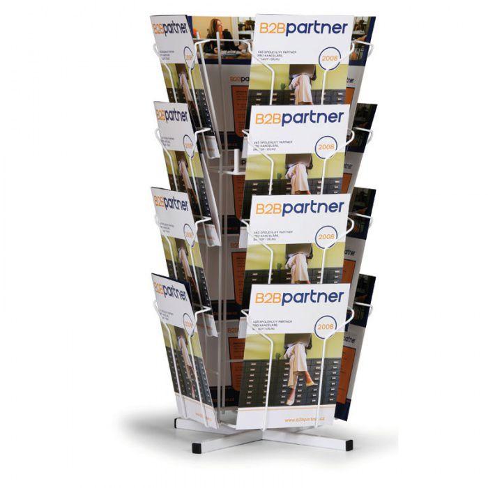 Otočný stolní drátěný stojan na prospekty, 16x kapsa A4