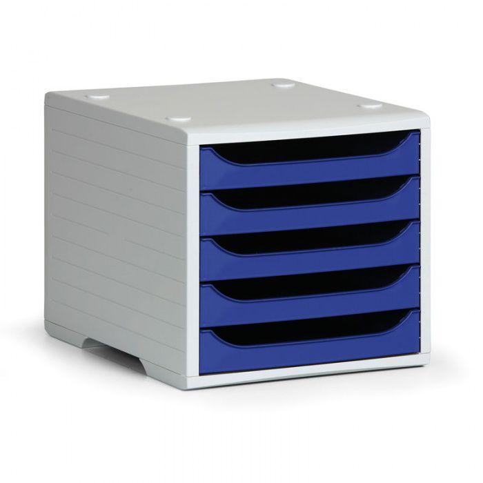 Třídící 5-ti zásuvkový box - Šedý korpus / Modré přihrádky