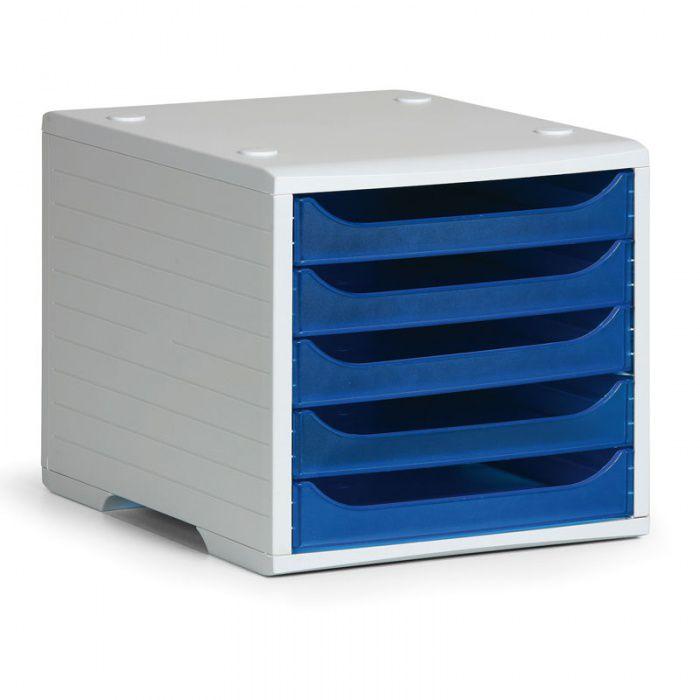 Třídící 5-ti zásuvkový box - Šedý korpus / Modré průhledné přihrádky