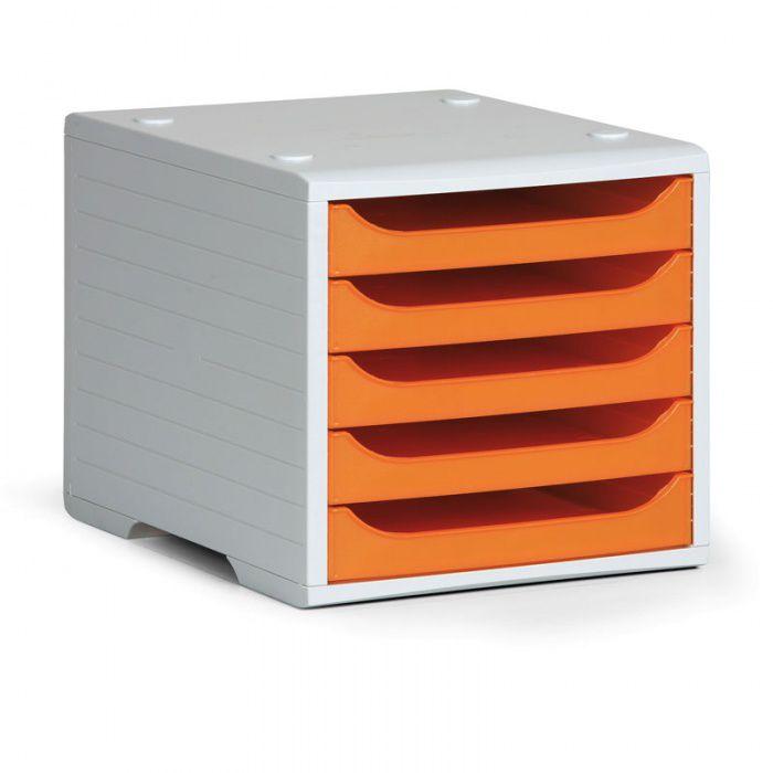 Třídící 5-ti zásuvkový box - Šedý korpus / Oranžové přihrádky