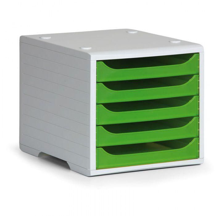 Třídící 5-ti zásuvkový box - Šedý korpus / Zelené průhledné přihrádky
