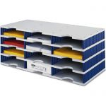 Box - 12 x přihrádka standard / 4 patra - modré stěny