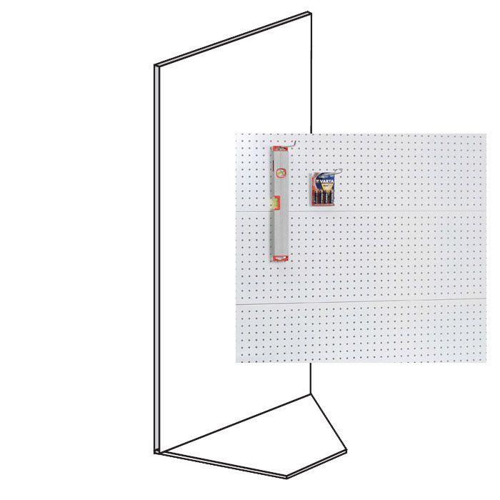 Prodejní regál - koutový, perfo stěny, 1600x1000x600 mm