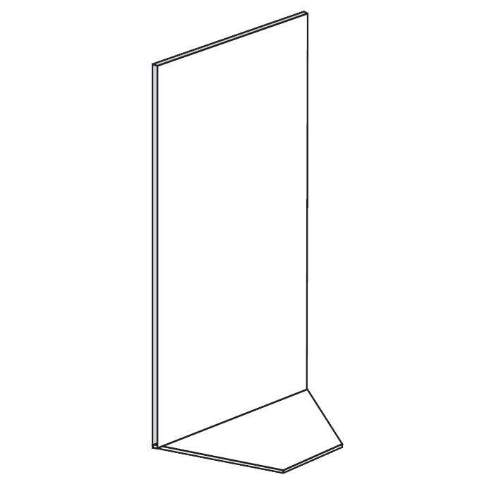 Prodejní regál - koutový, plné stěny, 1600x1000x600 mm