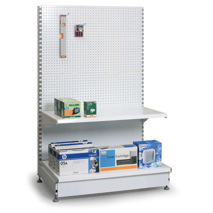 Prodejní regál oboustranný, perfo stěny, 1600x1000x600 mm, přídavný