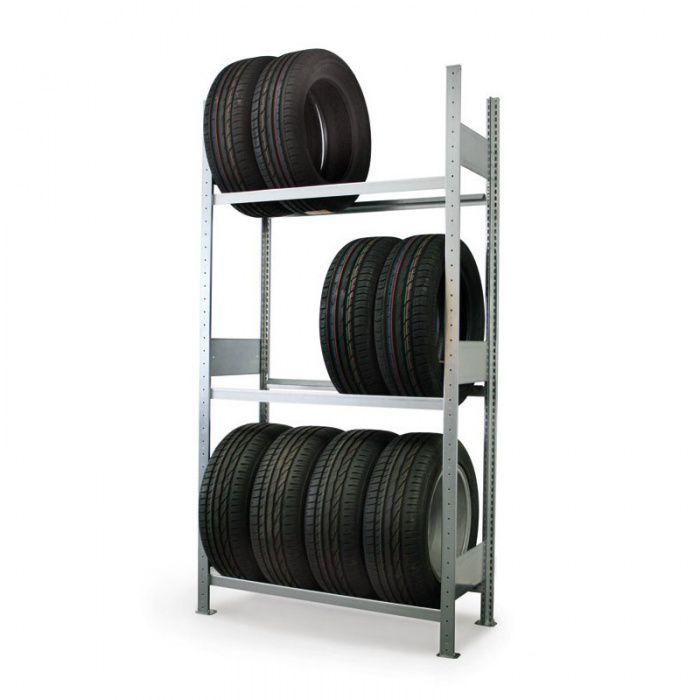 Úložný regál na pneumatiky, 2500x1000x400 mm, přístavný