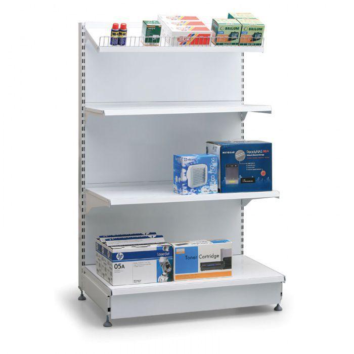 Prodejní regál oboustranný, plné stěny, 1600x1000x500 mm, přídavný