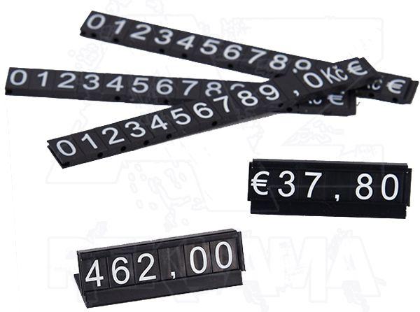 Plastové 2D Cenovky na hliníkovém stojánku - Sada Kč a Euro - Bílé znaky