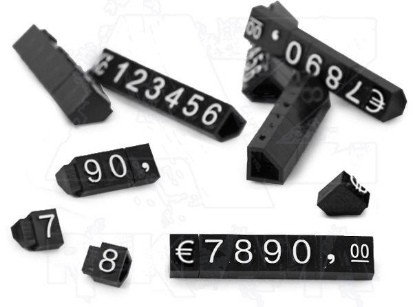 Plastové 3D Cenovky 9x6 mm sada Euro - Bílý prolis