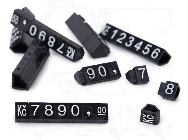 Plastové 3D Cenovky 9x6 mm sada Kč - Bílý prolis
