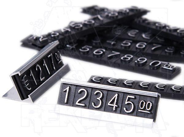 Plastové 3D Cenovky na hliníkovém stojánku - Sada Euro - Stříbrný prolis