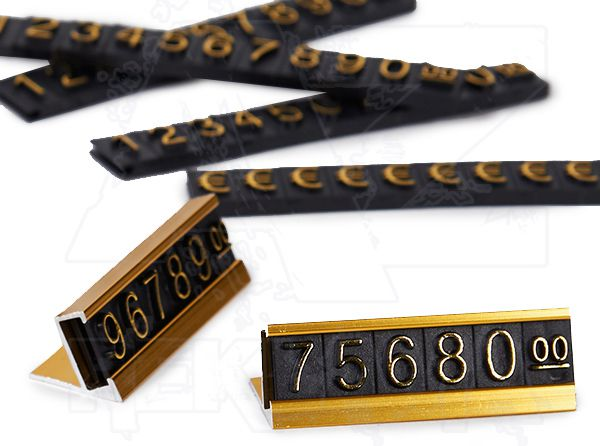 Plastové 3D Cenovky na hliníkovém stojánku - Sada Euro - Zlatý prolis