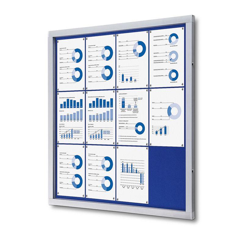 Vitrína Economy 12xA4 - textilní modrá