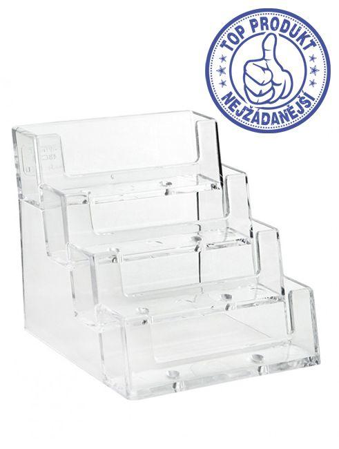 Plastový zásobník na vizitky 4x nad sebou stojací