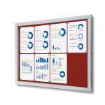 Venkovní informační vitrína SCRITTO ECONOMY 8xA4, červená textilní záda A-Z Reklama CZ